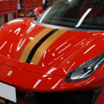 フェラーリ 488ピスタ ガラスコーティング「WELLA High-Q」で艶々の透明感。プロテクションフィルムも!