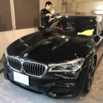 BMW 740i コーティング 職人舟橋作業中