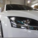 ガラスコーティング施工、新車のアウディTTが入庫しておりました。